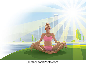 Woman practices yoga outdoors