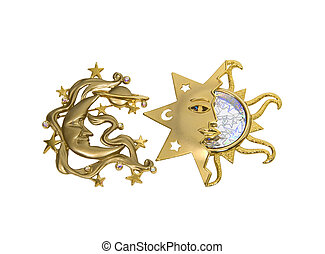 Sun and the moon sparkle - Golden sun and moon and sparkles...