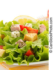 salad in plate on white - salad in plate isolated on white...