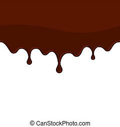 Melted Chocolate or Blood Seamless Drips Vector