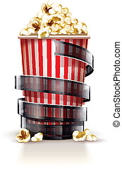 Paper container full of popcorn with film tape cinema concept