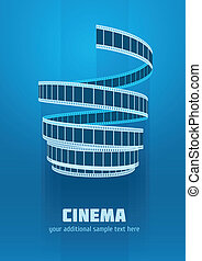 Concept sign cinematograph film tape. Eps10 vector...