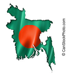 Bangladesh flag map, three dimensional render, isolated on...