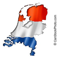 Netherlands flag map, three dimensional render, isolated on...