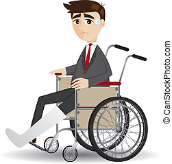 cartoon broken leg businessman sitting on wheelchair -...