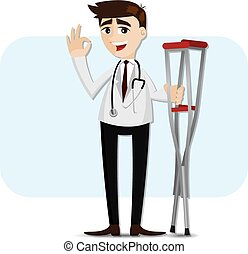 cartoon doctor with crutch - illustration of cartoon doctor...