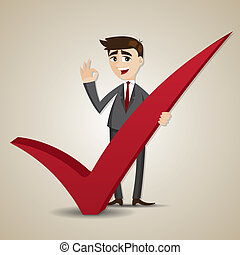 cartoon businessman with right mark - illustration of...