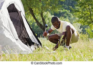 hombre, campamento