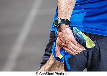 macho, corredor, extensión, Antes, entrenamiento