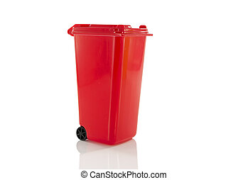 red garbage bin
