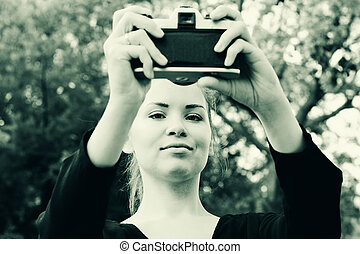 Beautiful woman taken picture of herself, selfie - Beautiful...