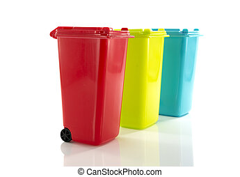 red blue and yellow green garbage bin isolated on white