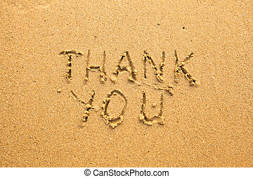 Thank You - Inscription of sand texture