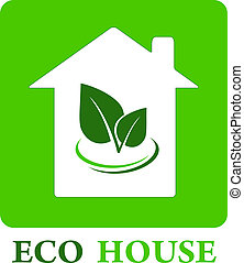 eco house with green leaf with decorative line