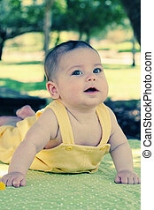 cute 3 month old baby outdoors