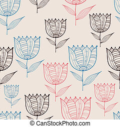 Vector Seamless Doodle Floral Pattern with Tulips, fully...