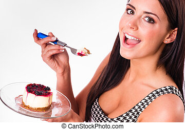 Horizontal Composition Attractive Brunette Woman Eating Sweet
