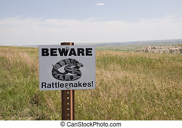 Beware of Rattlesnake Sign in the Badlands of South Dakota