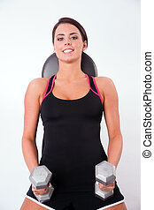 Smooth Skin Beautiful Brunette Woman Working Out Weight...