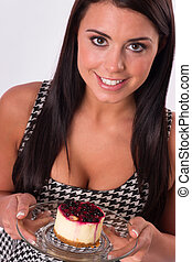 Vertical Composition Attractive Brunette Woman Eating Sweet