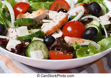 healthy salad of fresh vegetables with chicken. macro. -...