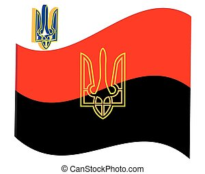 revolutionary flag and Ukraine trident on a white background