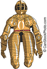 vector armor medieval knight - vector gold ceremonial armor...