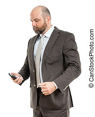 business man phone - An image of a handsome business man at...