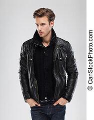 Fashion man, model leather jacket, gray background - Fashion...