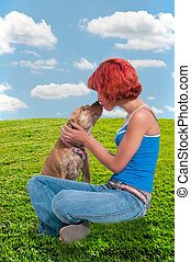 Beautiful Woman and Pit Bull mix dog