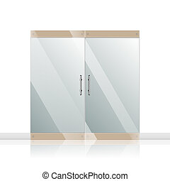 Glass door with chrome silver handles set - Transparent...