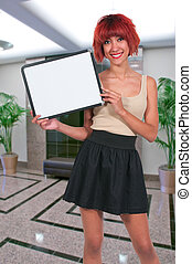 Woman Holding a Blank Sign - Beautiful young woman holding...