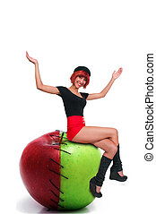 Woman On Sweet and Sour Apple - Beautiful woman sitting on a...