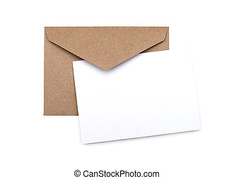 brown envelope with a blank white card over white