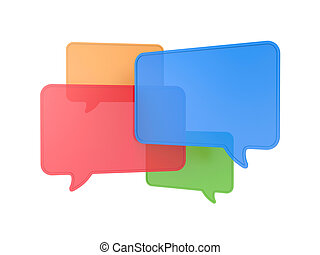 Speech bubbles - Communication metaphor. Isolated on white