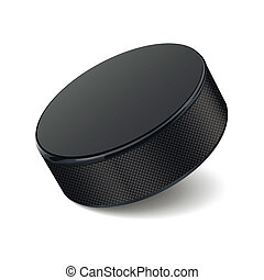 Detailed hockey puck isolated on white background. Vector...