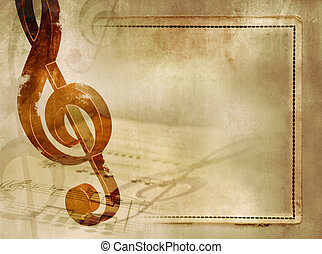 Classic music background - Vintage music background with...