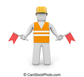 Semaphore flag positions - People at work metaphor Isolated...