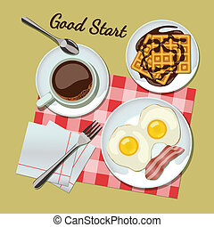 Breakfast set top view Coffee, fried egg with bacon, waffles...
