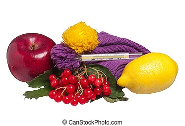 Anti-virus remedies with fresh fruits isolated on white...
