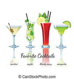 Favorite cocktails set, isolated - Favorite cocktails set...