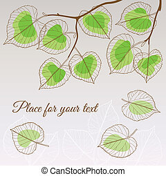 Linden leaf green style with place for your text - Abstract...