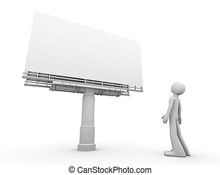 Man stands near copyspaced bigboard looking at it