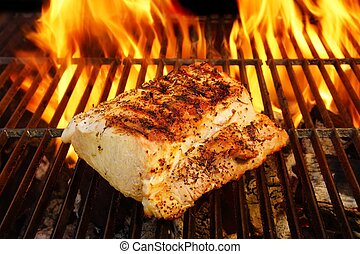 Grilled Pork Striploin and BBQ Flames, XXXL - Grilled Pork...