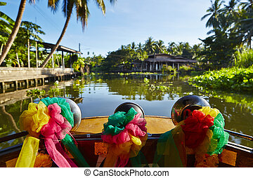 Boat trip on the river in Thailand