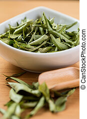 Close up Dried curry leaves with white background
