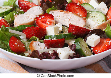 salad of strawberries, cheese, chicken and vegetables macro....