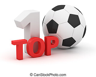 Soccer Top 10 - Top 10 with soccer ball on white background