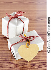 brown gift box with heart tag card