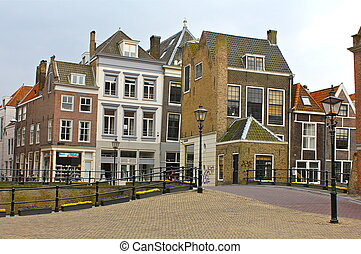 Dordrecht, Netherlands Street Scene - Rails and lampposts...